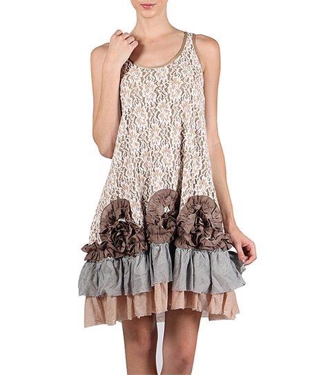 9edaca0de47f7 love this product Taupe Lace Ruffle Shift Dress