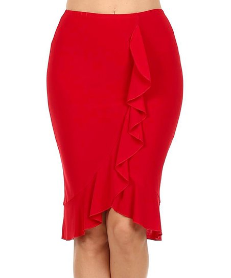 580301da9 One Fashion by Cozy Collection Red Ruffle Pencil Skirt - Women | Zulily