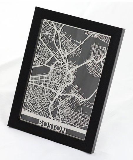 Cut Maps Stainless Steel Boston Map Framed Wall Art Zulily