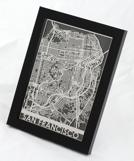 Cut Maps Stainless Steel San Francisco Map Framed Wall Art zulily