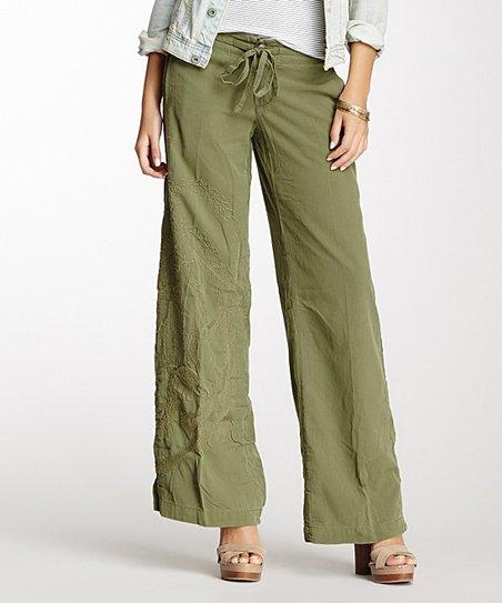 3b303c8859b Da-Nang Fatigue Green Embroidered Silk-Blend Wide-Leg Pants