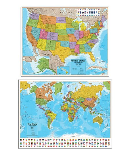 Full Map Of Usa.Round World Blue Ocean World Usa Wall Map Set