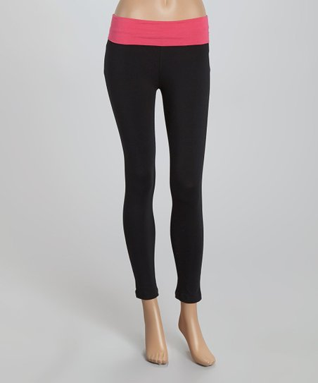 79671b9196cdc love this product Pink & Black Crop Yoga Pants