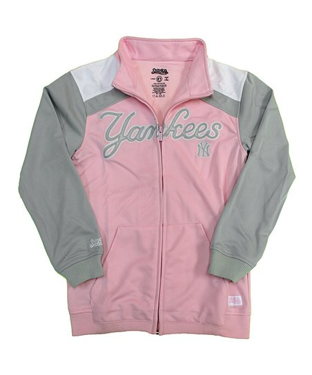 Stitches Athletic Gear Pink Gray New York Yankees Track Jacket