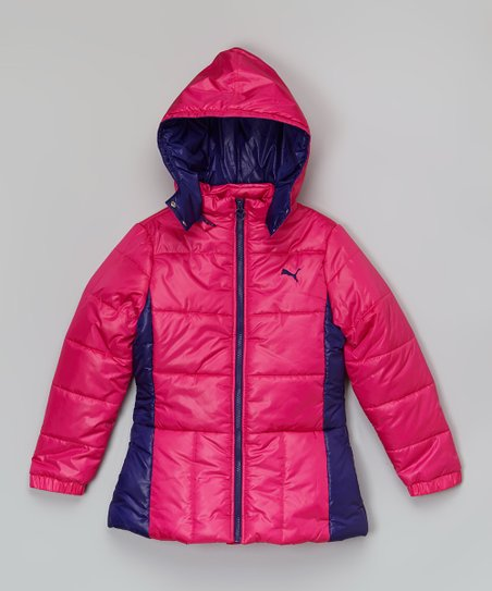 53ce70a9944e love this product Hot Pink   Navy Peplum Puffer Coat - Toddler   Girls