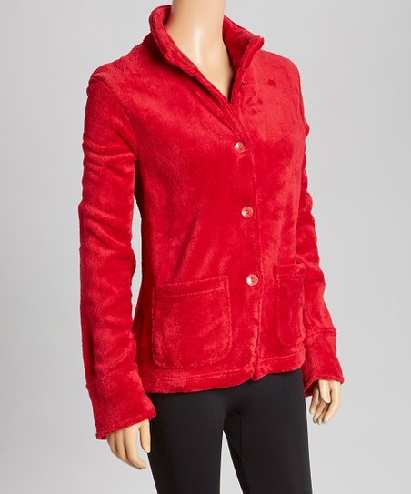 4d7021e35a1 love this product Red Marshmallow Fleece Bed Jacket - Plus