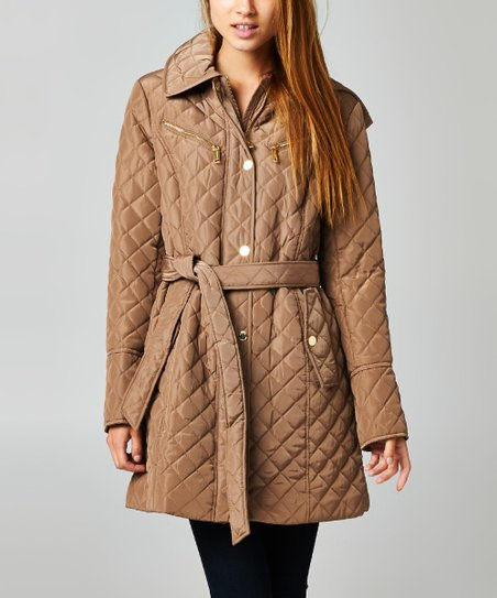 50e950879f MICHAEL Michael Kors Truffle Tie-Waist Quilted Jacket | Zulily
