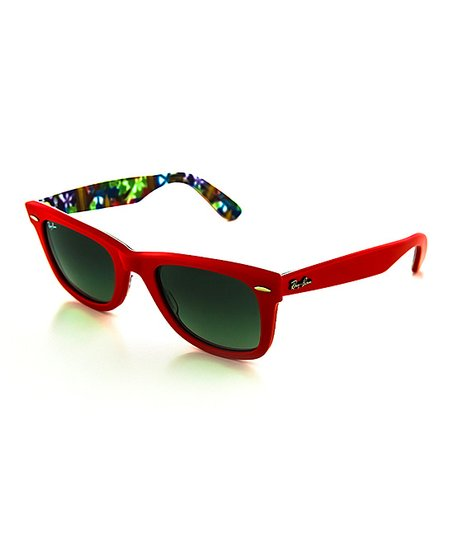 3e4b518497a love this product Red   Crystal Gray Abstract 50-mm Wayfarer Sunglasses