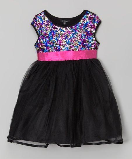 166642cdc690 Zunie & Pinky Black & Pink Sequin Dress - Toddler & Girls   Zulily