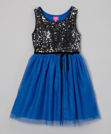92554968 Zunie & Pinky Blue & Silver Sequin Dress - Girls | Zulily