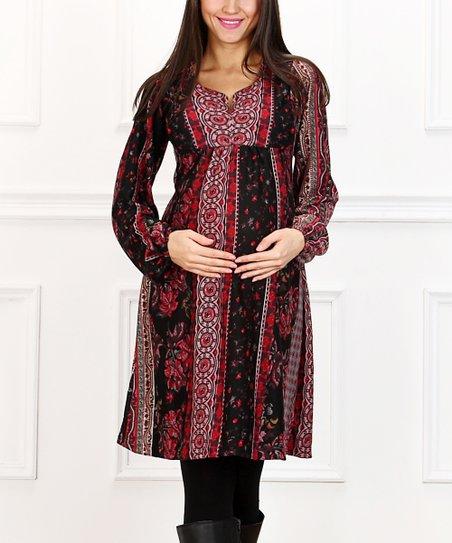 2ad5960bb9e Hot Mama Maternity Red   Black Floral Stripe Maternity Dress