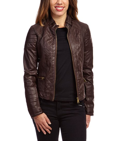 d13ea5572 Therapy Brown Quilted Panel Faux Leather Moto Jacket