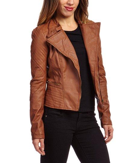 615525e49 Therapy Light Cognac Stripe Panel Faux Leather Moto Jacket