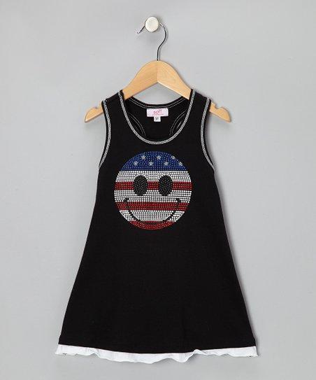Sofi Black White Patriotic Face Swing Dress Toddler
