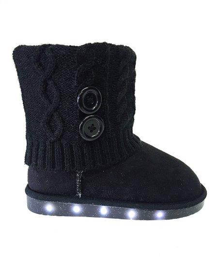 223e3db64bec0 Chulis Footwear Black LED Light Knit Boot