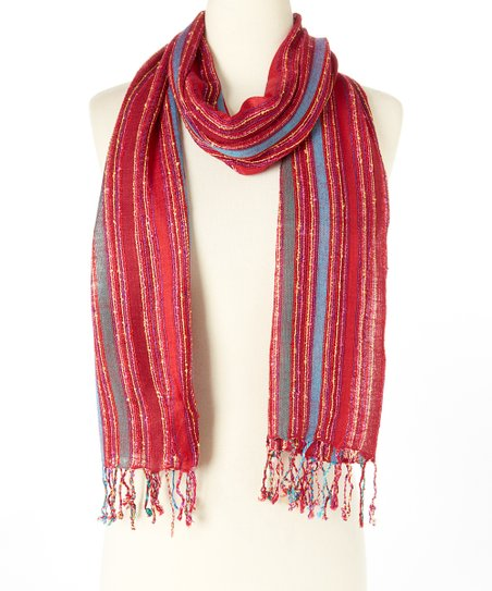 Colorful Stripes with Fringe Scarf