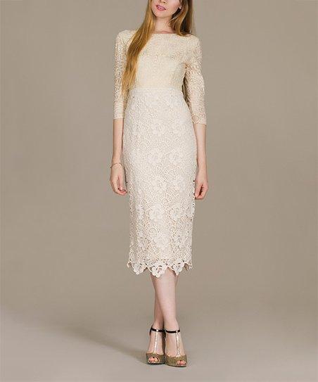 fc5a24e284b Champagne   Strawberry Vintage Ivory Lace Midi Dress