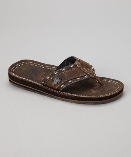 ba145c236c70 Justin Boots Brown Double-Edge Stitch Bent Rail Flip-Flop - Men