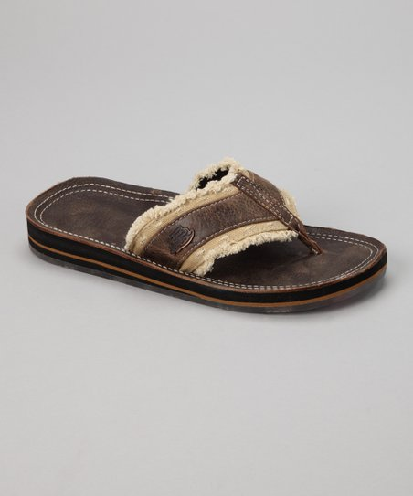 20e91778c204 Justin Boots Brown Frayed Strap Bent Rail Flip-Flop - Men