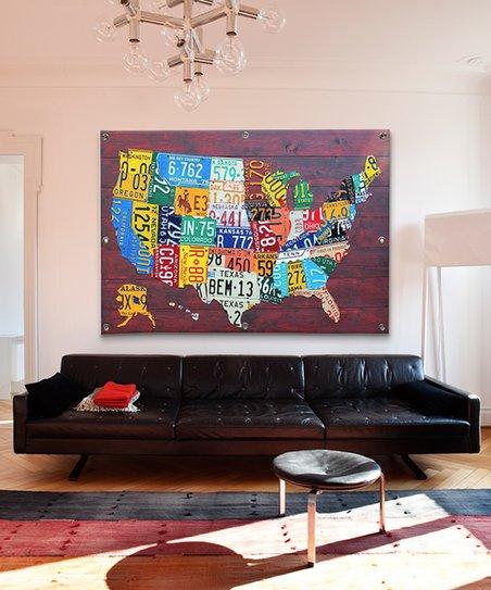 iCanvas David Bowman USA License Plate Map USA Grommeted Canvas Wall Art