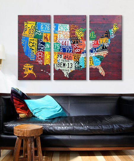 iCanvas David Bowman USA License Plate Map Gallery-Wrapped Canvas Triptych