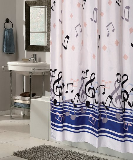 Blue Notes Snap On Grommet Shower Curtain