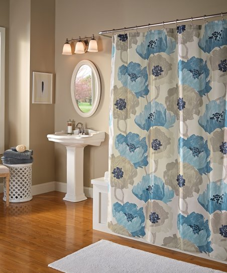 Aqua Poppies Shower Curtain