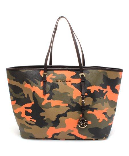 5ba64df0d975be MICHAEL Michael Kors Poppy Camouflage Jet Set Travel Leather Tote ...