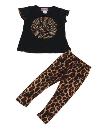 0727bd00eae446 love this product Black Emoji Angel-Sleeve Top & Leopard Leggings - Toddler  & Girls