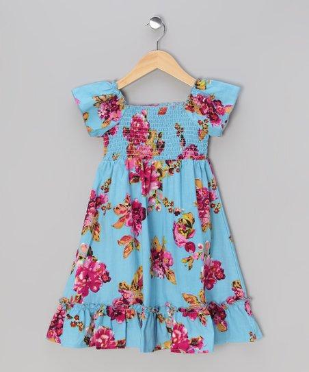 8241df5385 Sweet Elegance Aqua   Red Floral Cap-Sleeve Dress - Toddler   Girls ...
