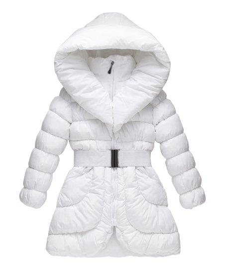 Richie House White Buckle Belt Hooded Puffer Coat Girls Zulily