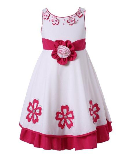 3d198a74a Richie House Fuchsia & White Floral Dress - Toddler   Zulily