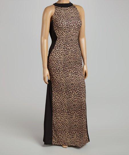 Kami Shade Black Tan Leopard Hourglass Maxi Dress Plus Zulily