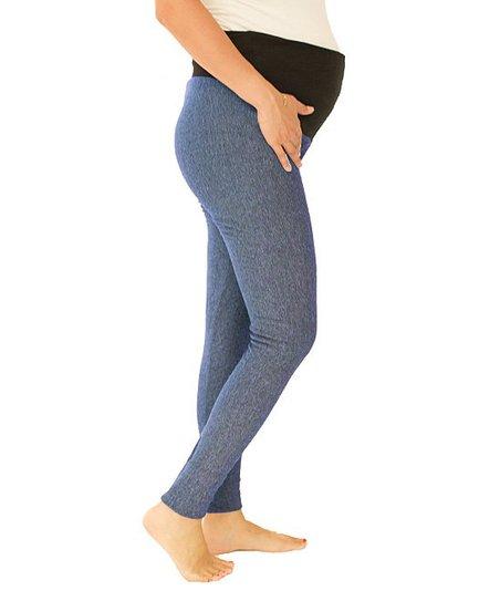 4b7100fdc8 Plush Blue Fleece-Lined Over-Belly Maternity Leggings