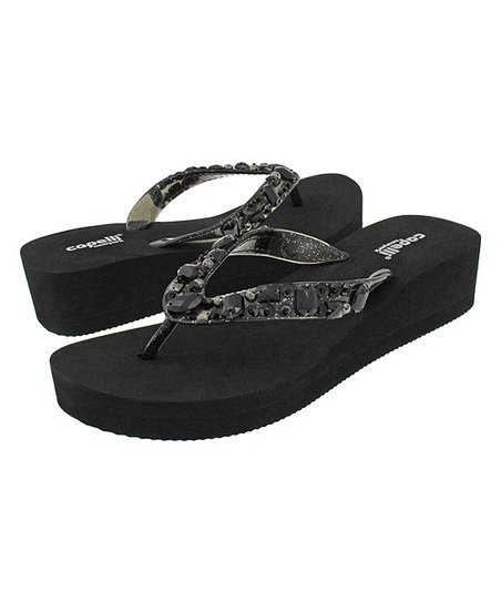 c5055f6529816e Capelli New York Black Sequin Wedge Flip-Flop