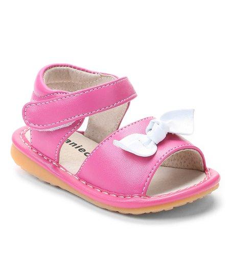 ff09de3d6d Laniecakes Hot Pink   White Kylee Bow Squeaker Sandal