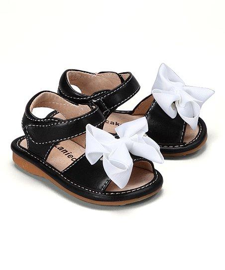 c06ccc26c2 Laniecakes Black   White Bow Squeaker Sandal - Girls