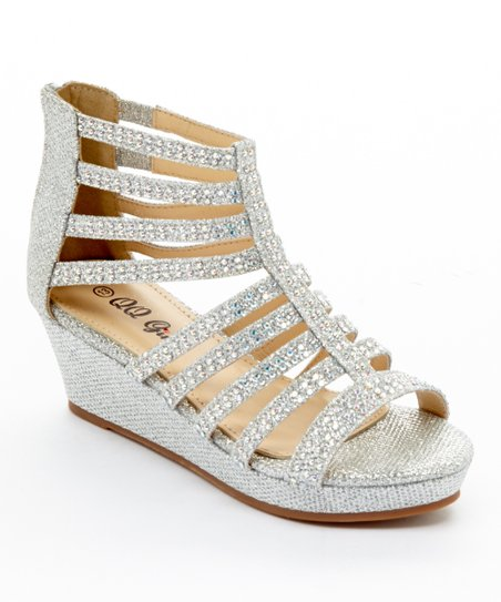 f0fa3f78f37a love this product Silver Glitter Rhinestone Cloud Gladiator Wedge - Girls