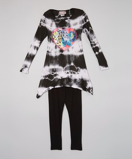 b5fb106edc2 love this product White   Black Tie-Dye Heart Top   Leggings - Toddler    Girls