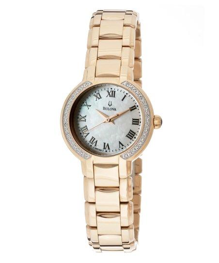 Rose Gold & Mother-of-Pearl Diamond Side Bracelet Watch