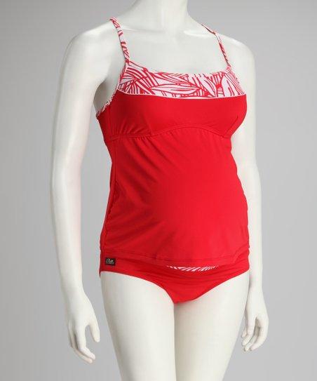 95f8a1649c Ilant Maternity Swimwear Red & White Racerback Maternity Tankini ...