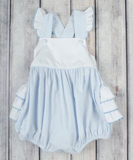 b7610d68c31 Stellybelly Light Blue Chambray Ruffle Bubble Romper - Infant ...