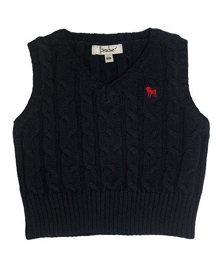 b0727f1e2b58 Frenchie Mini Couture Navy Cable-Knit Sweater Vest - Infant