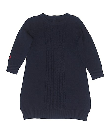 eea6170507c5 Frenchie Mini Couture Navy Cable-Knit Sweater Dress - Infant ...