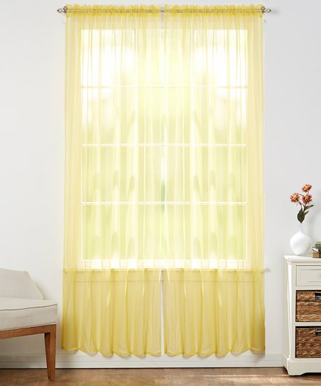 Bright Yellow Sheer Curtain Panel Set Of Two