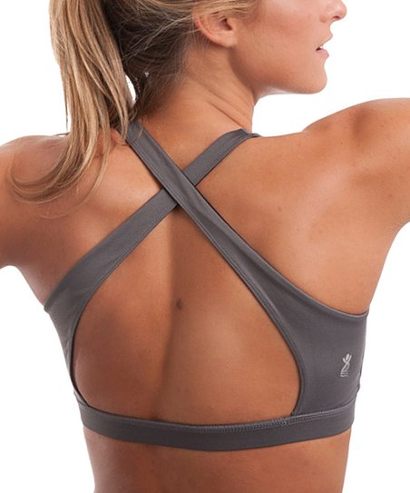 755125c756 love this product Gray Open-Back Sports Bra - Women