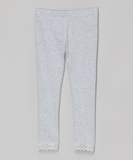407529e75a48f love this product Heather Gray Lace-Trim Leggings - Toddler & Girls