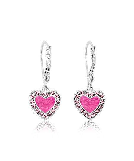 Chanteur Designs Pink Heart Drop Earrings With Swarovski Crystals