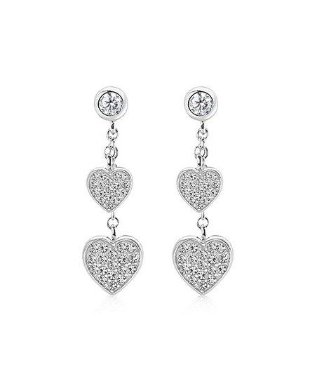 128502eab Chanteur Designs Clear Cubic Zirconia & White Goldtone Heart Drop ...