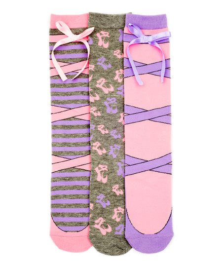 f9facb109 LittleMissMatched Pink   Purple Ballerina Knee High Socks Set